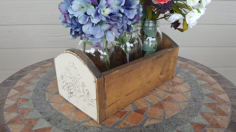 Rustic wood box centerpiece wedding by jumpcreekdesigns on