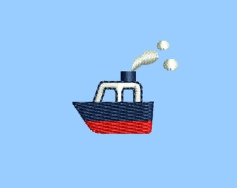 Mini ship machine embroidery design. 3 sizes. Instant download