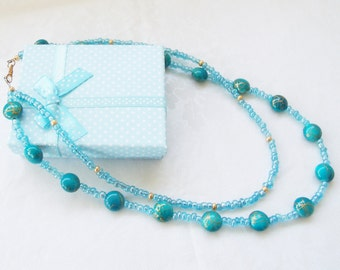 Turquoise Splash Necklace-Bead Necklace-Multi Strand-Double Strand-Turquoise Round Beads-Blue Necklace-Birthday/Anniversay Gift-FREE Earring