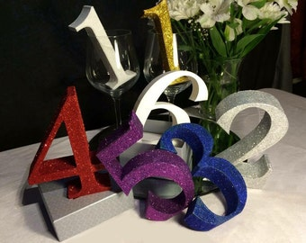 Wedding table number 3d printed glitter free standing centrepiece numbers