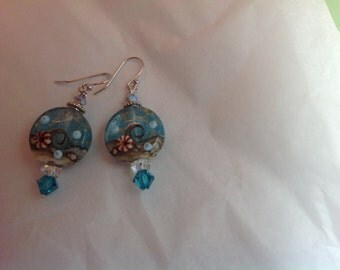 Lampwork bead beach earrings