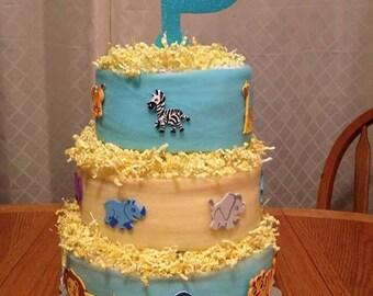 Animal baby shower, diaper cake, boy diaper cake, diaper cake boy, zoo animal diaper cake, diaper cake, unique baby gift, baby shower gift