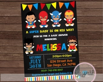 African American Superhero Baby Shower Invitation, Superheroes Baby Shower Invitation, Superheroes Baby Shower Chalk, Digital File