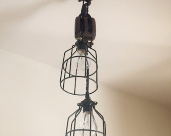 Pulley light- Vintage Industrial Block & Tackle Pulley Lighting