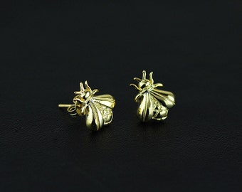 Sterling silver fill and 18k gold plating bee shape earrings