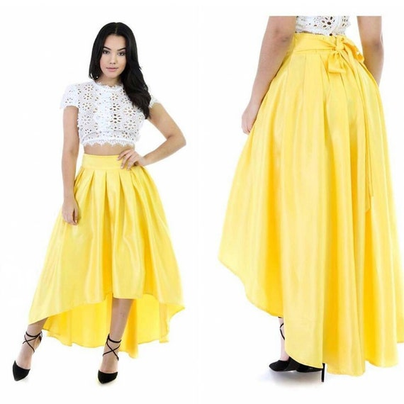 high low skirt yellow skirt yellow silk skirt by deafricanshop