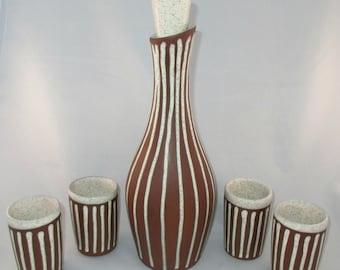Walter Sullivan Roche Mid-Century Modern Studio Pottery Decanter &  Cups Set, Complete, Mint