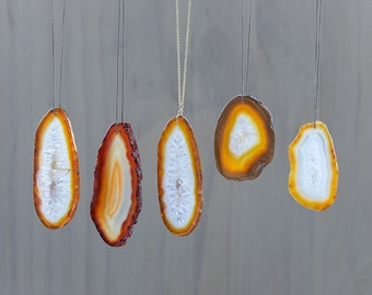 Large Agate Necklace Brown Agate Slice Pendant Gold Stone Necklace Statement Necklace Gold Geode Necklace boho necklace Natural Agate