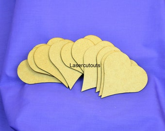 Laser cut heart, MDF, 3mm thick, ready to decorate, ideal for crafters - various sizes available