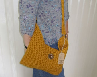Crocheted origami wool bag