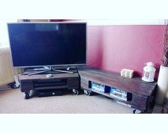 Upcycled pallet TV unit