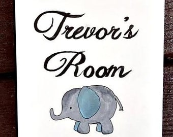 Elephant Baby Nursery Custom Name Art