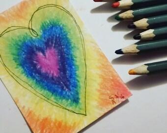 Rainbow Love Aceo
