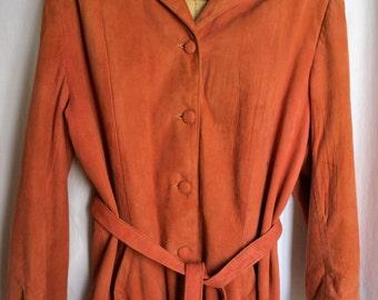 Leathermode Vintage Suede Jacket, Salmon Color