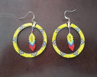 Yellow Feather Hoop Earrings