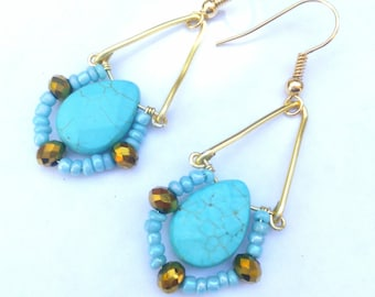 Turquoise and Czech Beads gold filled earrings