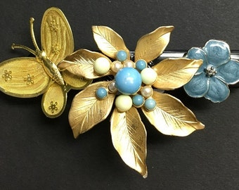 Gold and Blue Floral Hair Barrette