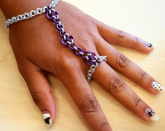 Silver and Purple Chainmaille Handflower