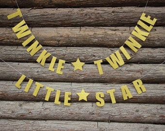 Twinkle Twinkle Little Star Banner, Gold Baby Shower, Gold Star Garland, Baby Shower Banner, Cake Table Decor,Birthday Party Decorations