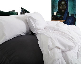 Scandinavian White Bedding Set. Duvet Cover and Pillowcase/s. Made from 100% Jersey Knit Cotton