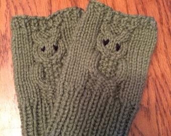Hand Knit Owl Fingerless Gloves