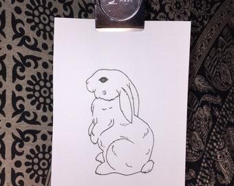 Tiny Bunny Ink Illustration
