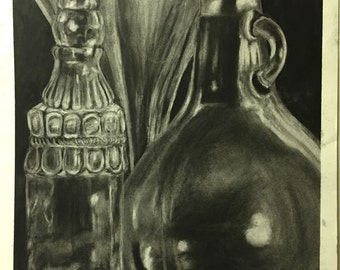 Glass bottles in charcoal