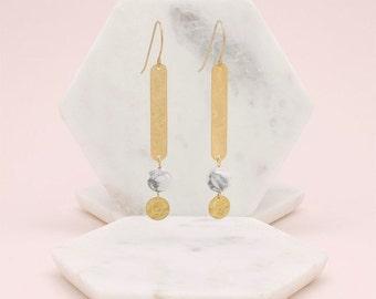Natural marble gold/earrings Pearl Earrings