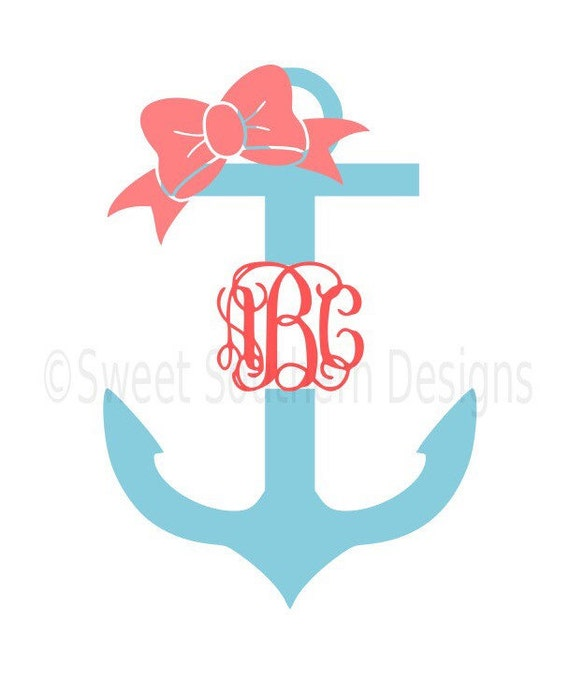 Monogram Split Anchor With Bow SVG Instant Download Design For