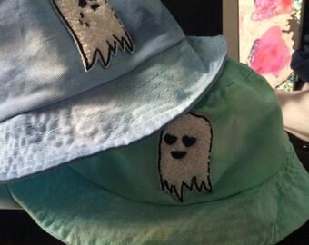 happy sad ghost bucket hats