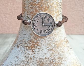 CLEARANCE SALE! Handmade bracelet, Silver plated clock pendant