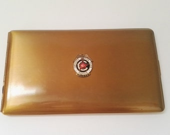 Vintage cigarette case Chicago Motor Club honor members gold with relief made in United States