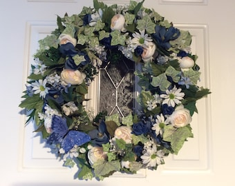 White and Blue Victorian Wreath with Blue Butterflies, Door Decor, Artificial Flower Wreath , Front Door Wreath, Made in Canada