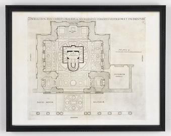 Architecture Map, Large Antique Art, Architectural Art, Antique Architectural, Large Antique Print, Distressed Art, Antique Map, Renaissance