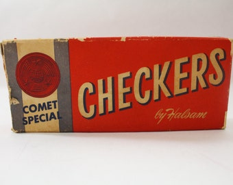 Vintage Box of Checkers COMET SPECIAL by Halsam ~ Great Old Graphics Wooden Embossed Red and Black Checkers 1950s