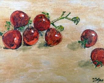 Cherry Tomatoes 2 - Encaustic Art