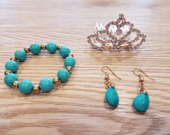 Princess Elena of Avalor - Set of Earring, Crown and Bracelet