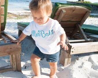 "Baby/Toddler/Girls Mermaid ""MerBabe"" T-Shirt (aqua)"