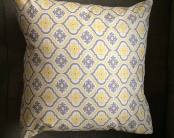 Yellow and Grey Lattice Themed Throw Pillow Cover with Zipper Closure (#1002)