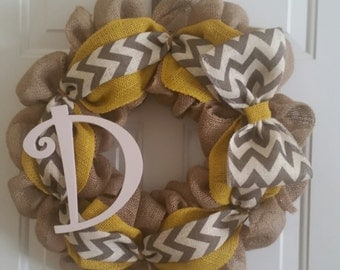 Natural Burlap/Golden and Chevron Accent Wreath
