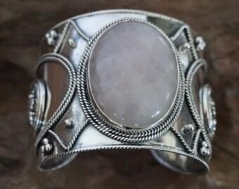 Poyan shifter for Sugati  sterling silver handmade Rose Quartz cuff -Sugati 163