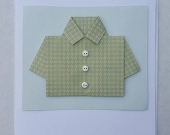 Handmade greetings card with shirt and button embellishments.