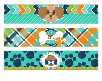 Pampered Pooch Digital Boys Birthday Party Printable Puppy Dog Water Bottle Wrapper Labels INSTANT DOWNLOAD