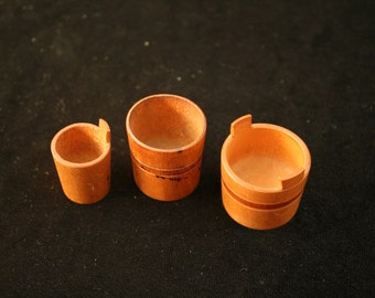 3 Miniature Wooden Buckets