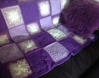 Crocheted Afghan, Handmade Blanket, Granny Squares Afghan, Purple Blanket, Lacey Blanket, Crocheted Lap Throw, Mohair Wool Acrylic