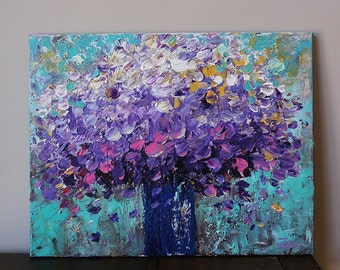 flower painting,purple flower,original art,abstract flower painting,teal, turquoise,flowers ,Violet,purple ,Texured painting