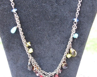 Vintage Fossil Brand Glass Bead Necklace
