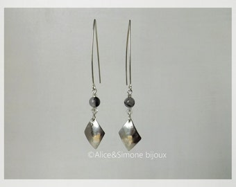 Silver diamond earrings and black rutilated quartz