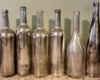SILVER Mercury glass hand painted wine bottles - wedding party decor flower vase decorative - Assorted set of 3