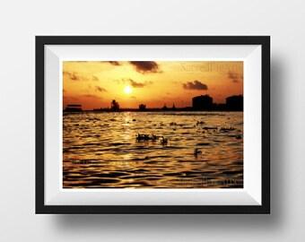 sunset wall print, sunset photography, sunset photo print, kerala photography, fort kochi, travel wall print, living room decor, wall art